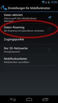 Datenroaming bei Android deaktivieren