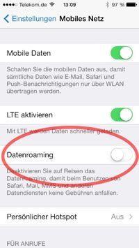 iOS Datenroaming